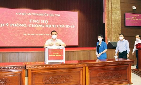 Thanh uy Ha Noi ung ho gan 150 trieu dong cho Quy phong chong COVID-19 hinh anh 1
