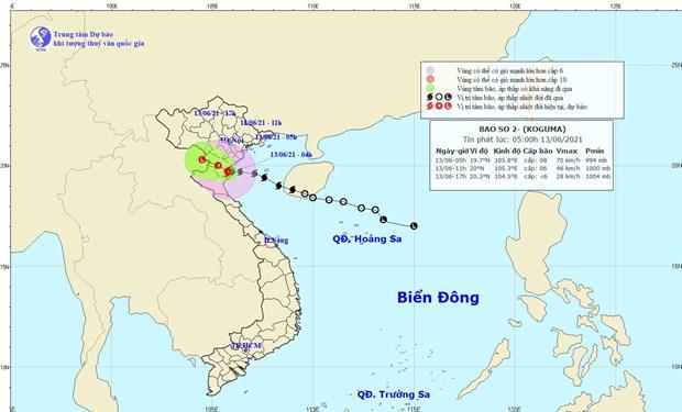 Bão số 2 suy yếu dần thành áp thấp nhiệt đới, Bắc Bộ mưa diện rộng