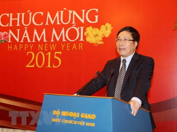 Pho Thu tuong Pham Binh Minh gap go bao chi dip nam moi 2015 hinh anh 1