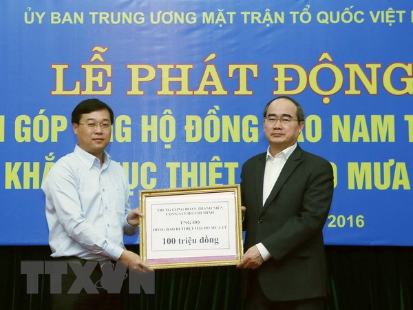 Chu tich Nguyen Thien Nhan keu goi ung ho dong bao vung mua lu hinh anh 1