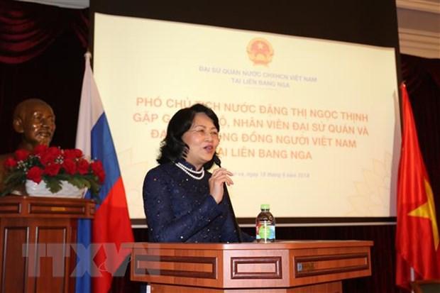 Pho Chu tich nuoc gap mat cong dong nguoi Viet Nam tai Nga hinh anh 1