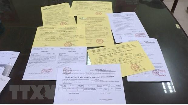 Thai Binh: Khoi to 3 doi tuong ve hanh vi lam gia giay test COVID-19 hinh anh 1