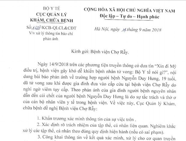 Xac minh thong tin xin di My dieu tri, benh vien gay kho de hinh anh 1