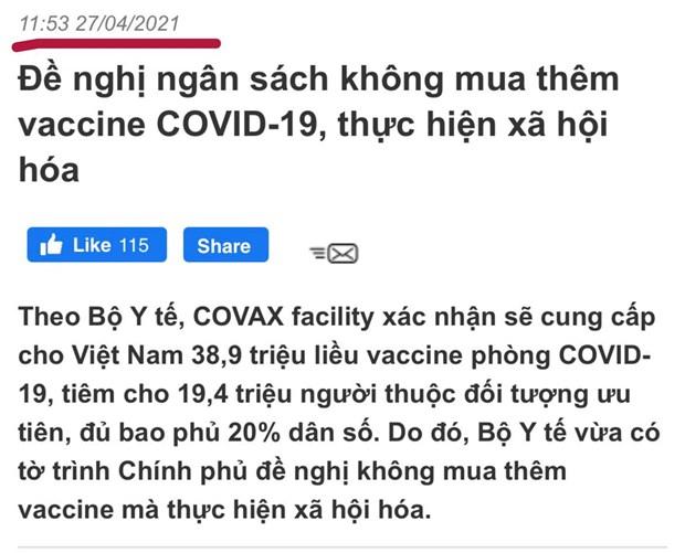 Vaccine COVID-19 dich vu: Se trien khai vao thoi diem phu hop hinh anh 2