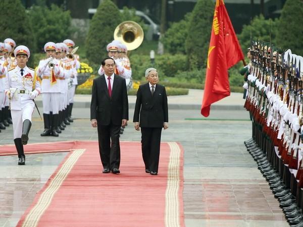 Chu tich nuoc Tran Dai Quang hoi kien voi Nha vua Nhat Ban Akihito hinh anh 1