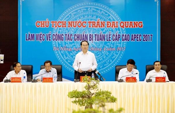 Chu tich nuoc kiem tra cong tac chuan bi Tuan le Cap cao APEC 2017 hinh anh 3