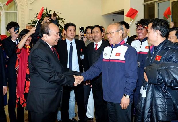 Thu tuong Nguyen Xuan Phuc chao don nong nhiet U23 Viet Nam hinh anh 1