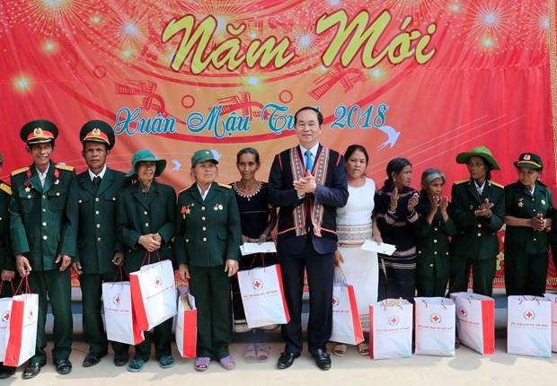 Chu tich nuoc Tran Dai Quang tham chuc Tet tai tinh Kon Tum hinh anh 4