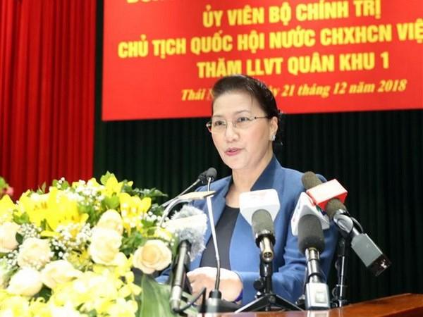 Chu tich Quoc hoi Nguyen Thi Kim Ngan tham Bo Tu lenh Quan khu 1 hinh anh 2