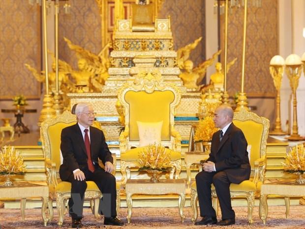 Tổng Bí thư, Chủ tịch nước Nguyễn Phú Trọng hội đàm với Quốc vương Campuchia Norodom Sihamoni. Ảnh: Trí Dũng/TTXVN