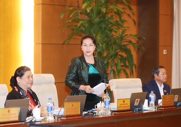 Chủ tịch Quốc hội Nguyễn Thị Kim Ngân phát biểu bế mạc Phiên họp thứ 32 của Ủy ban Thường vụ Quốc hội. Ảnh: Trọng Đức/TTXVN