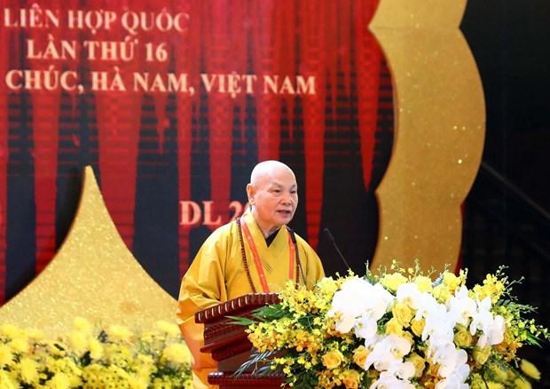 Hòa thượng Thích Thiện Nhơn, Chủ tịch Hội đồng Trị sự Trung ương Giáo hội Phật giáo Việt Nam, Chủ tịch Ủy ban Tổ chức quốc gia Đại lễ Phật đản Liên hợp quốc - Vesak 2019 phát biểu. (Ảnh: Thống Nhất/TTXVN)