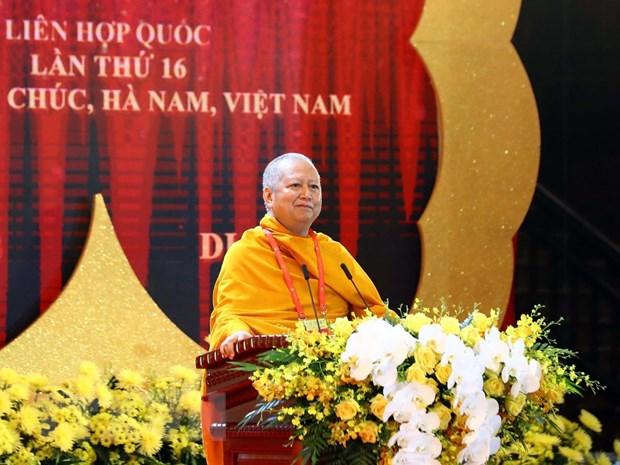 Hòa thượng, giáo sư, tiến sỹ Phra Brahmapundit, Chủ tịch sáng lập Ủy ban Tổ chức quốc tế Đại lễ Phật đản Liên hợp quốc phát biểu. (Ảnh: Thống Nhất/TTXVN)