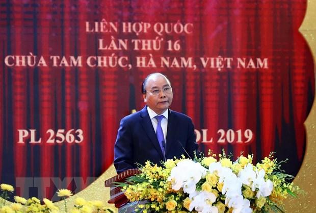 Thủ tướng Chính phủ Nguyễn Xuân Phúc phát biểu chào mừng. (Ảnh: Thống Nhất/TTXVN)
