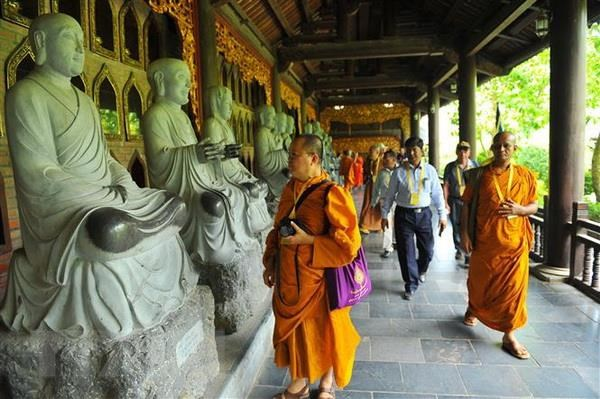 Dai bieu du Dai le Vesak 2019 tham quan tai tinh Ninh Binh hinh anh 1