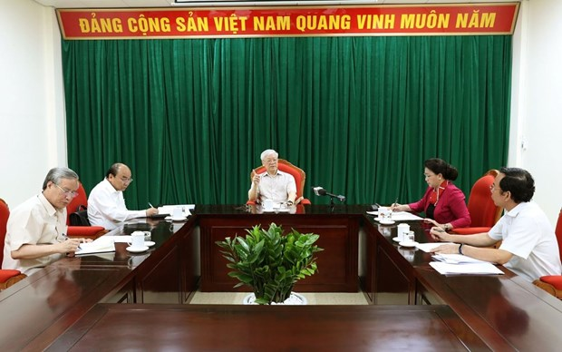 Tong Bi thu, Chu tich nuoc Nguyen Phu Trong chu tri hop lanh dao hinh anh 2