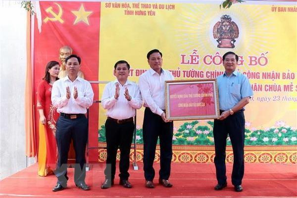 Hung Yen cong bo bao vat quoc gia tuong Phat Quan Am chua Me So hinh anh 1