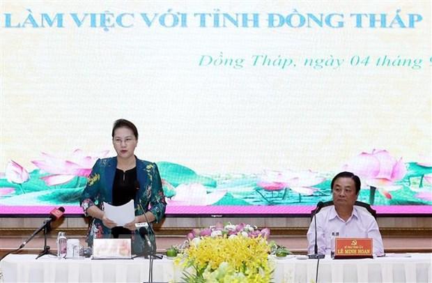 Chu tich Quoc hoi Nguyen Thi Kim Ngan tham lam viec tai tinh Dong Thap hinh anh 1