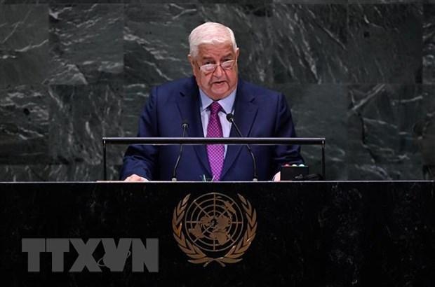 Ngoại trưởng Syria Walid Muallem phát biểu trước Đại hội đồng Liên hợp quốc ở New York (Mỹ). Ảnh: AFP/TTXVN