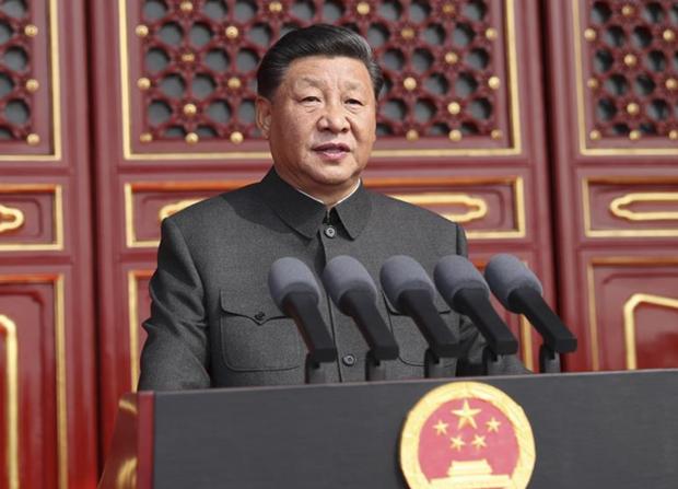 Tổng Bí thư, Chủ tịch nước Trung Quốc Tập Cận Bình phát biểu tại lễ duyệt binh Nguồn: Xinhua