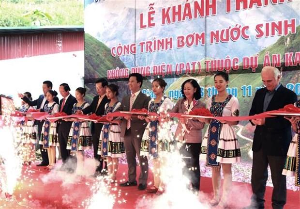 Ha Giang khanh thanh cong trinh bom nuoc sinh hoat khong dung dien hinh anh 1