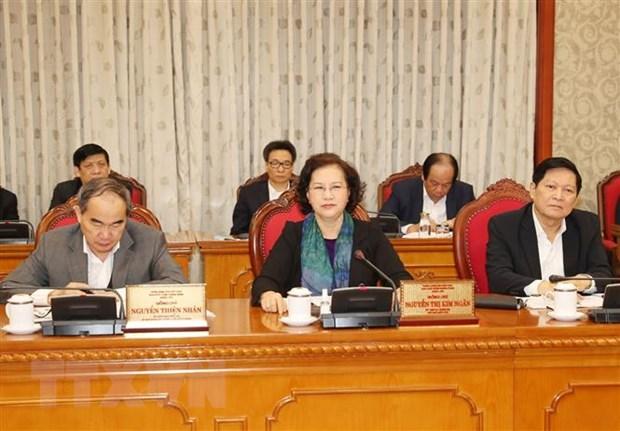 Ủy viên Bộ Chính trị, Chủ tịch Quốc hội Nguyễn Thị Kim Ngân phát biểu tại cuộc họp. Ảnh: Trí Dũng/TTXVN