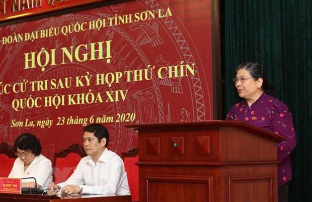 Pho Chu tich Quoc hoi Tong Thi Phong tiep xuc truc tuyen cu tri Son La hinh anh 1