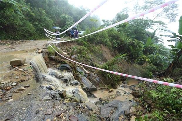 Đoạn đường 156 bị ảnh hưởng do mưa lũ gây ra từ ngày 3-5/7 tại xã Trịnh Tường, huyện Bát Xát (tỉnh Lào Cai). (Ảnh: Vũ Sinh/TTXVN)