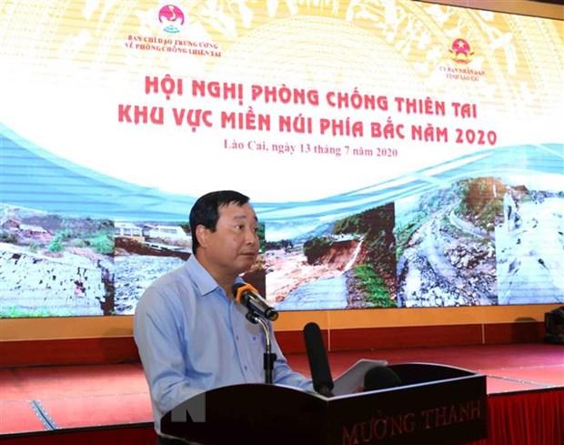 Phó trưởng Ban Chỉ đạo Trung ương về phòng, chống thiên tai, Tổng cục trưởng Tổng cục phòng, chống thiên tai Trần Quang Hoài báo cáo về công tác phòng, chống thiên tai năm 2019 và công tác phòng, chống thiên tai 6 tháng đầu năm 2020. (Ảnh: Vũ Sinh/TTXVN)