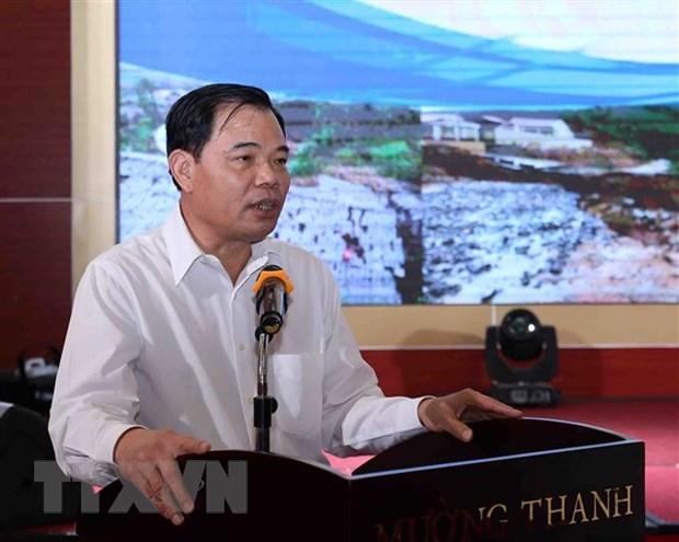 Bộ trưởng Bộ Nông nghiệp và Phát triển nông thôn Nguyễn Xuân Cường phát biểu chỉ đạo tại hội nghị. (Ảnh: Vũ Sinh/TTXVN)