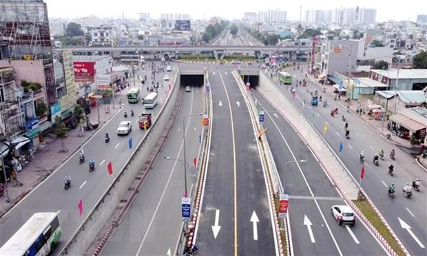 Nút giao thông An Sương trở thành nút giao hoàn chỉnh, với quy mô ba tầng. (Ảnh: Tiến Lực/TTXVN)