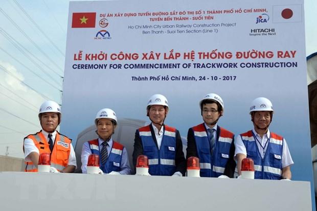 Thanh pho Ho Chi Minh khoi cong lap duong ray tuyen metro so 1 hinh anh 1