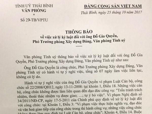 Ky luat buoc thoi viec Pho truong phong Van phong Tinh uy Thai Binh hinh anh 1