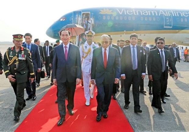 Chu tich nuoc Tran Dai Quang bat dau tham cap Nha nuoc toi Bangladesh hinh anh 1