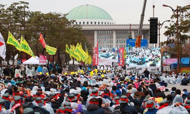 Khoang 40.000 nguoi lao dong tham gia bai cong lon tai Han Quoc hinh anh 1