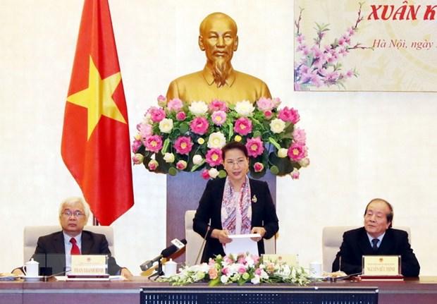 Chu tich Quoc hoi Nguyen Thi Kim Ngan gap mat van nghe sy dip Tet 2019 hinh anh 1