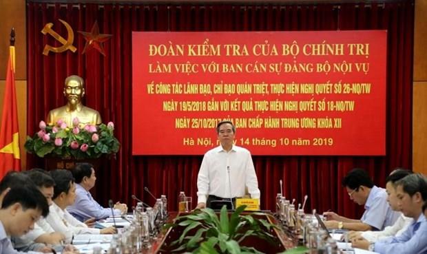 Doan Kiem tra cua Bo Chinh tri lam viec voi Ban Can su Dang Bo Noi vu hinh anh 1