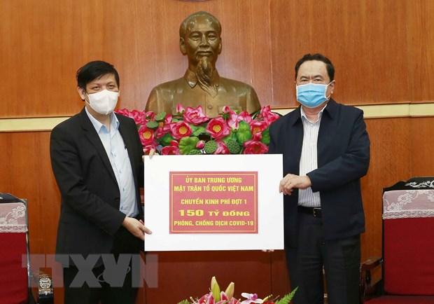 Uy ban MTTQ Viet Nam phan bo 150 ty dong tien ung ho cho Bo Y te hinh anh 1