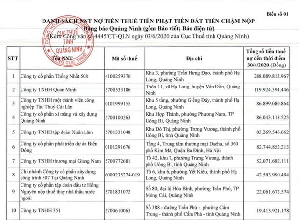Quang Ninh cong bo gan 400 doanh nghiep no thue keo dai hinh anh 1