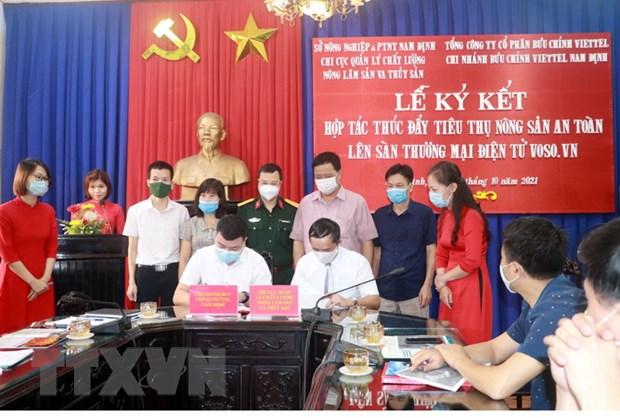 Nam Dinh: Ky ket hop tac thuc day dua nong san len san dien tu hinh anh 2