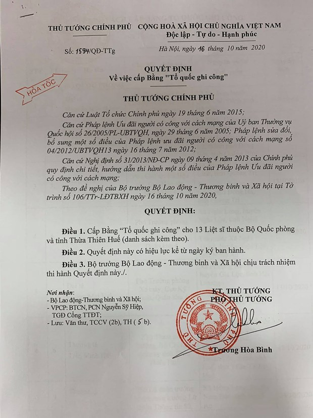 "Cap Bang ""To quoc ghi cong"" cho 13 liet sy da hy sinh tai Rao Trang 3 hinh anh 1"