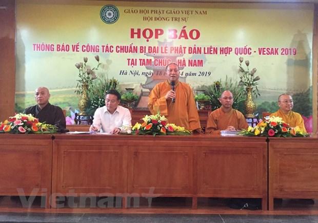 Hòa thượng Thích Gia Quang cung cấp thông tin liên quan tới Đại lễ Phật đản Liên hợp quốc - Vesak 2019 cho phóng viên chiều 18-4. Ảnh: PV/Vietnam+