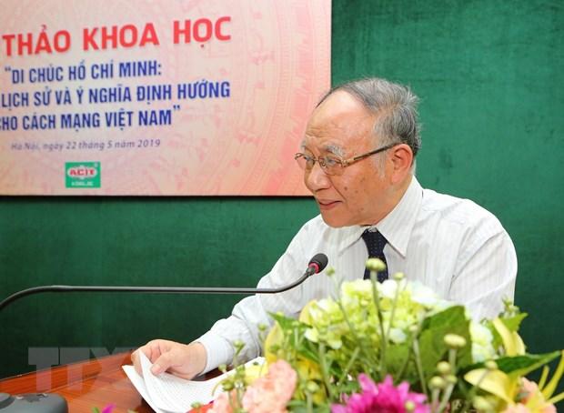 Giáo sư-tiến sỹ Hoàng Chí Bảo phát biểu tại hội thảo. (Ảnh: TTXVN)