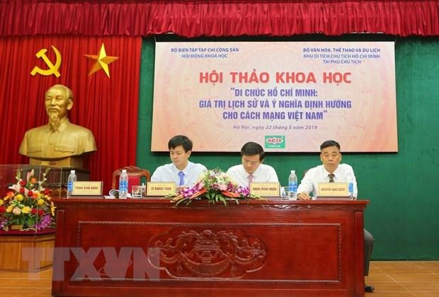 Hội thảo tổ chức nhân kỷ niệm 129 năm Ngày sinh Chủ tịch Hồ Chí Minh và 50 năm thực hiện Di chúc của Người. (Ảnh: TTXVN)