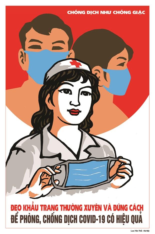 Hoa sy Viet hao hung ve tranh co dong phong, chong dich COVID-19 hinh anh 9