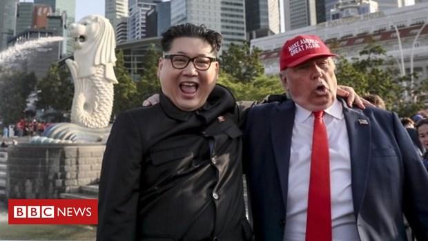 Kim Jong un va Donald Trump gia da kip gay chu y tai Singapore hinh anh 1