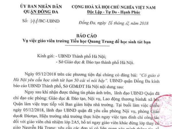 Vu hoc sinh bi phat tat 50 cai: Bat ngo voi bao cao cua Quan Dong Da hinh anh 1