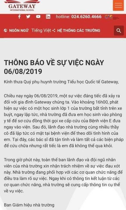 Vu hoc sinh bi bo quen tren xe buyt: Truong Gateway map mo thong tin hinh anh 2