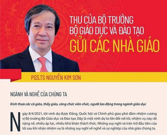 Tan Bo truong Bo GD-DT Nguyen Kim Son gui thu cho nha giao ca nuoc hinh anh 1