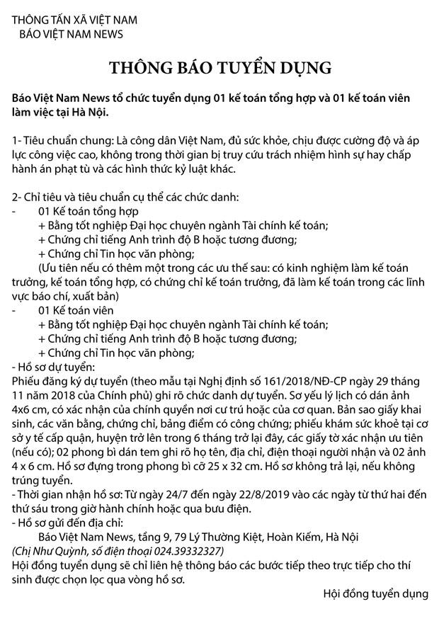 Bao Viet Nam News tuyen dung nhan vien ke toan lam viec tai Ha Noi hinh anh 1